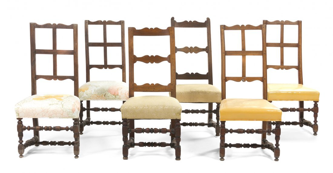 13: A Set of Four Continental Walnut Side Chairs, Heigh
