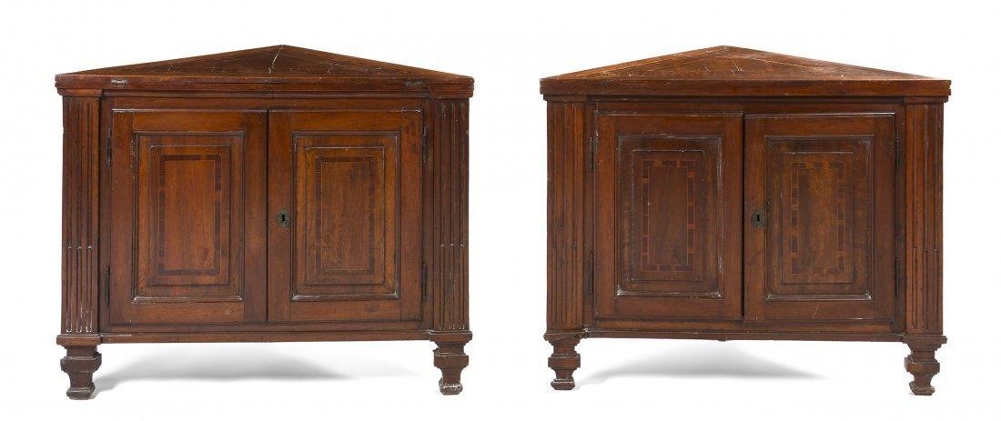 15: A Pair of Italian Walnut Inlaid Corner Cabinets, He