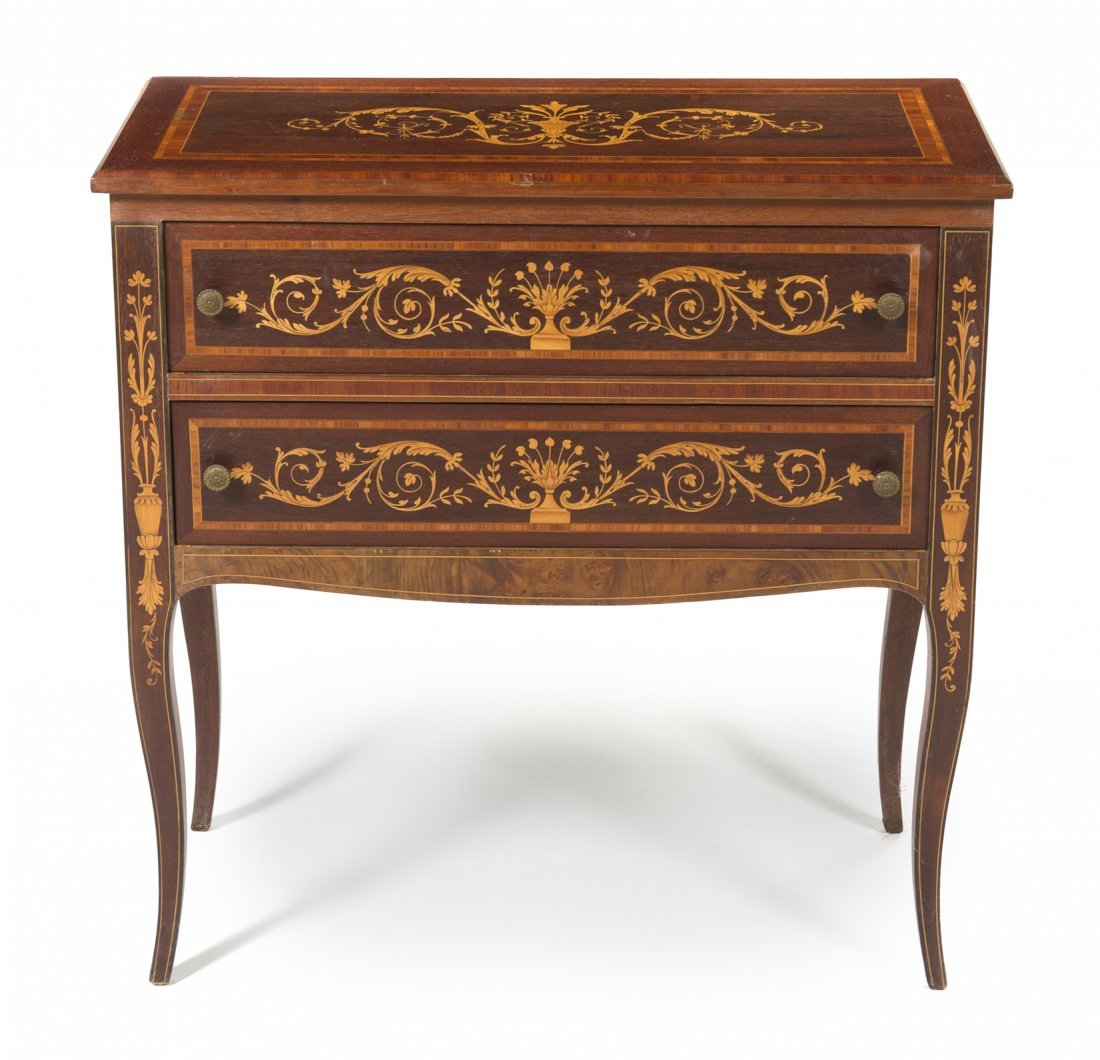 16: An Italian Mahogany and Fruitwood Inlaid Marquetry