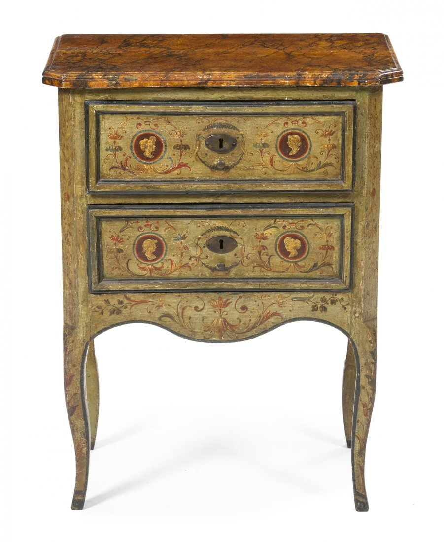 17: An Italian Painted Commode, Height 30 1/2 x width 2