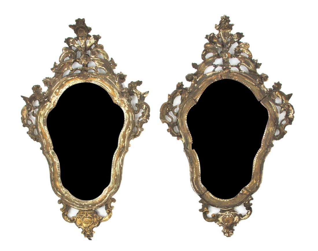 21: A Pair of Venetian Giltwood Mirrors, Height 31 inch