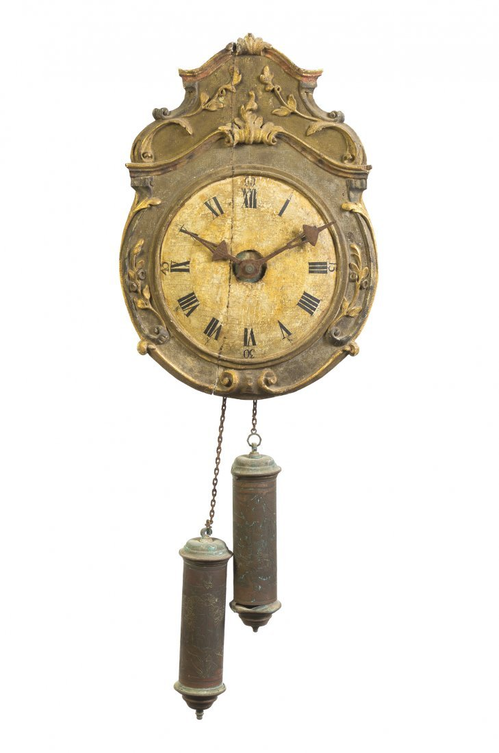 22: A Continental Painted and Parcel Gilt Wall Clock, H