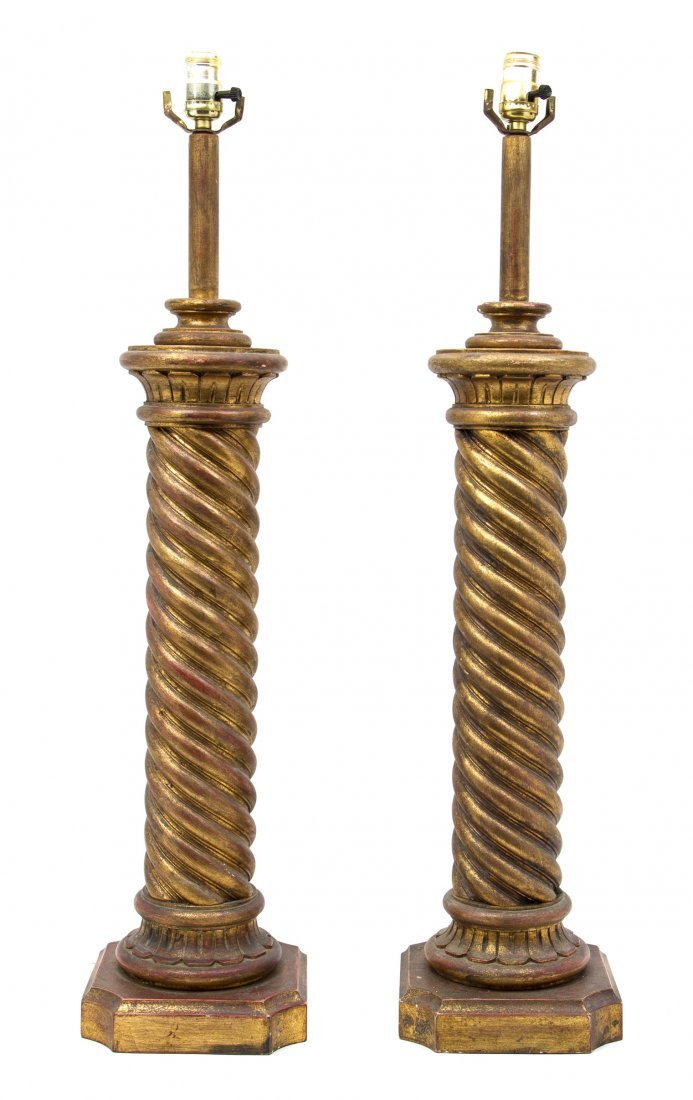23: A Pair of Italian Turned Giltwood Lamps, Height ove