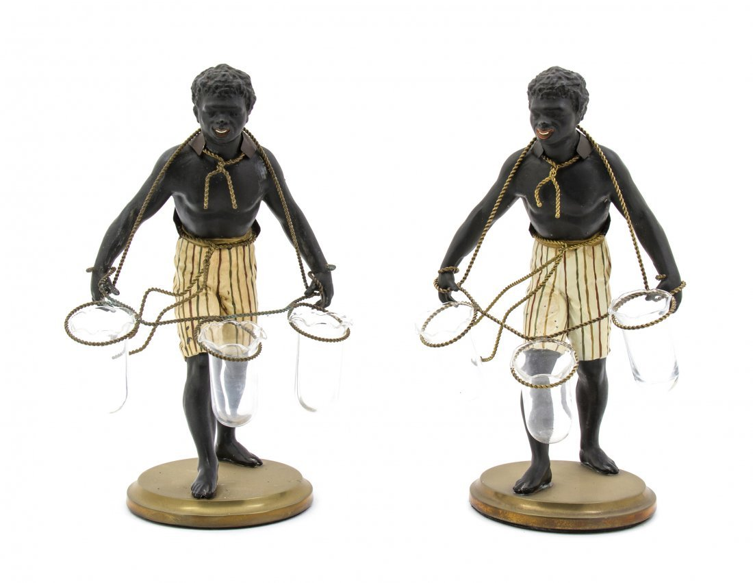24: A Pair of Cast Metal Figural Tulipieres, Height 13