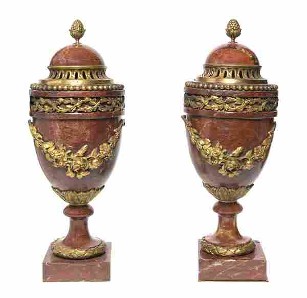 A Pair of Neoclassical Rouge Marble and Gilt Bronz