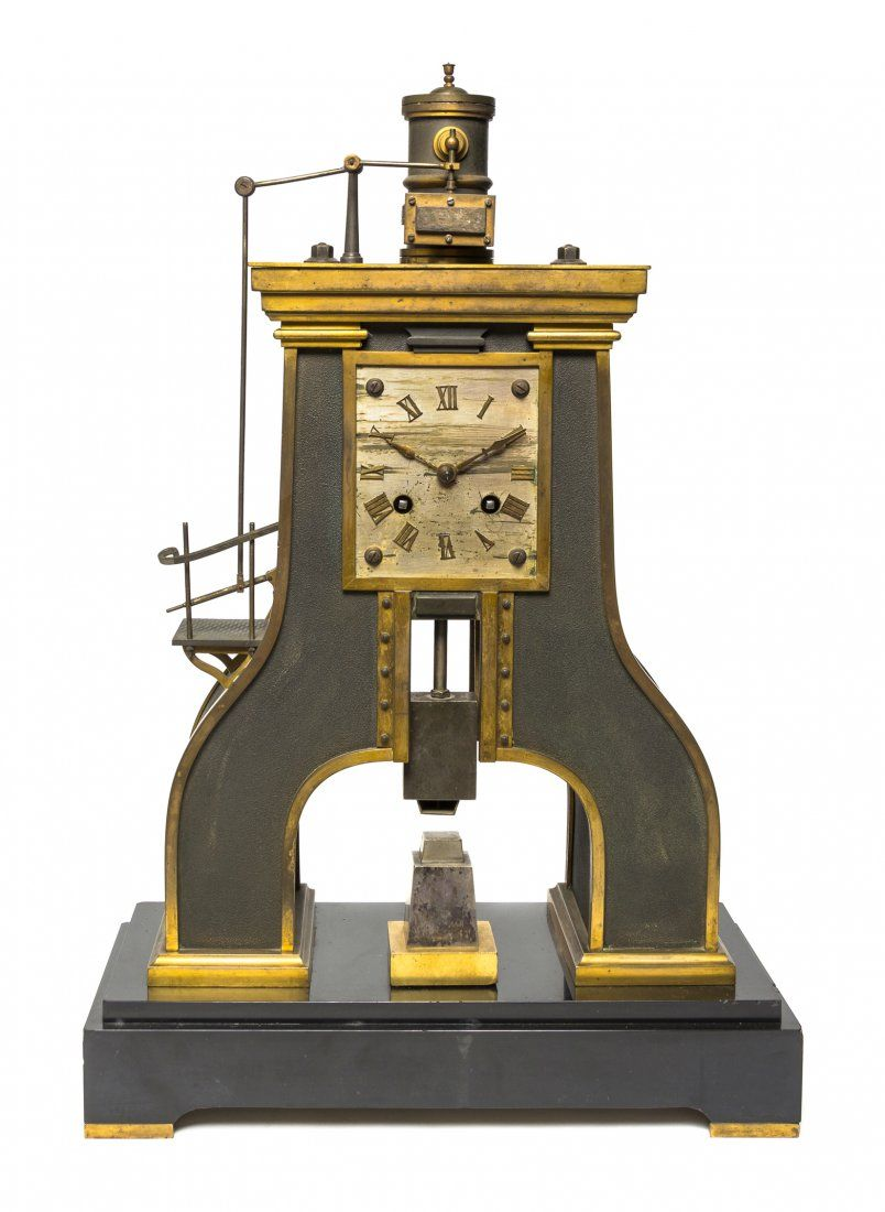 A French Gilt Bronze and Cast Metal Steam Hammer C