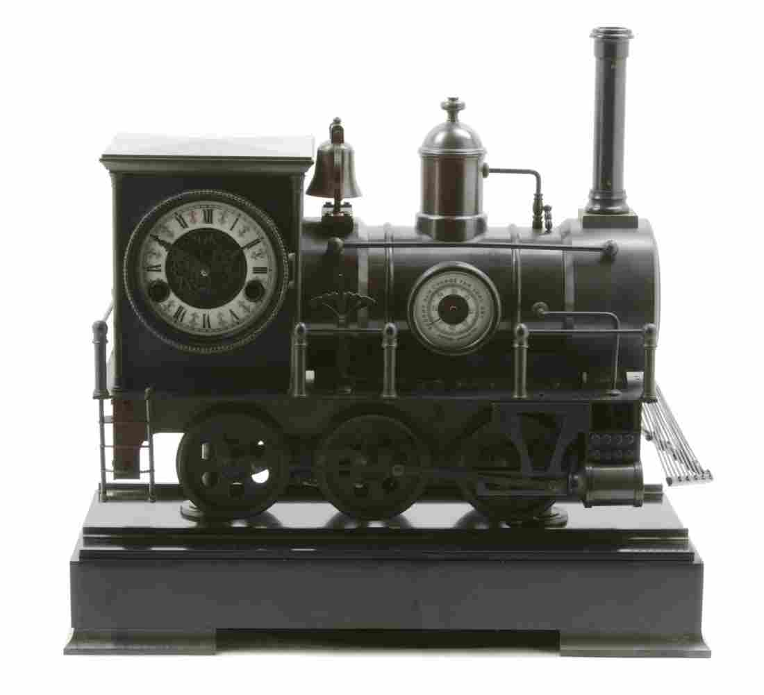 204: A French Bronze Industrial Style Steam Locomotive