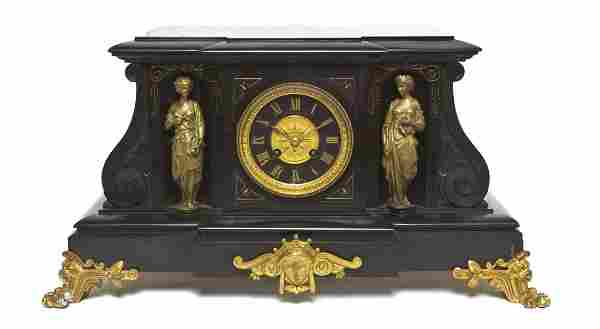 205: A French Slate and Gilt Bronze Mantel Clock, Heigh