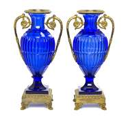 209 A Pair of French Cobalt Glass and Gilt Bronze Moun