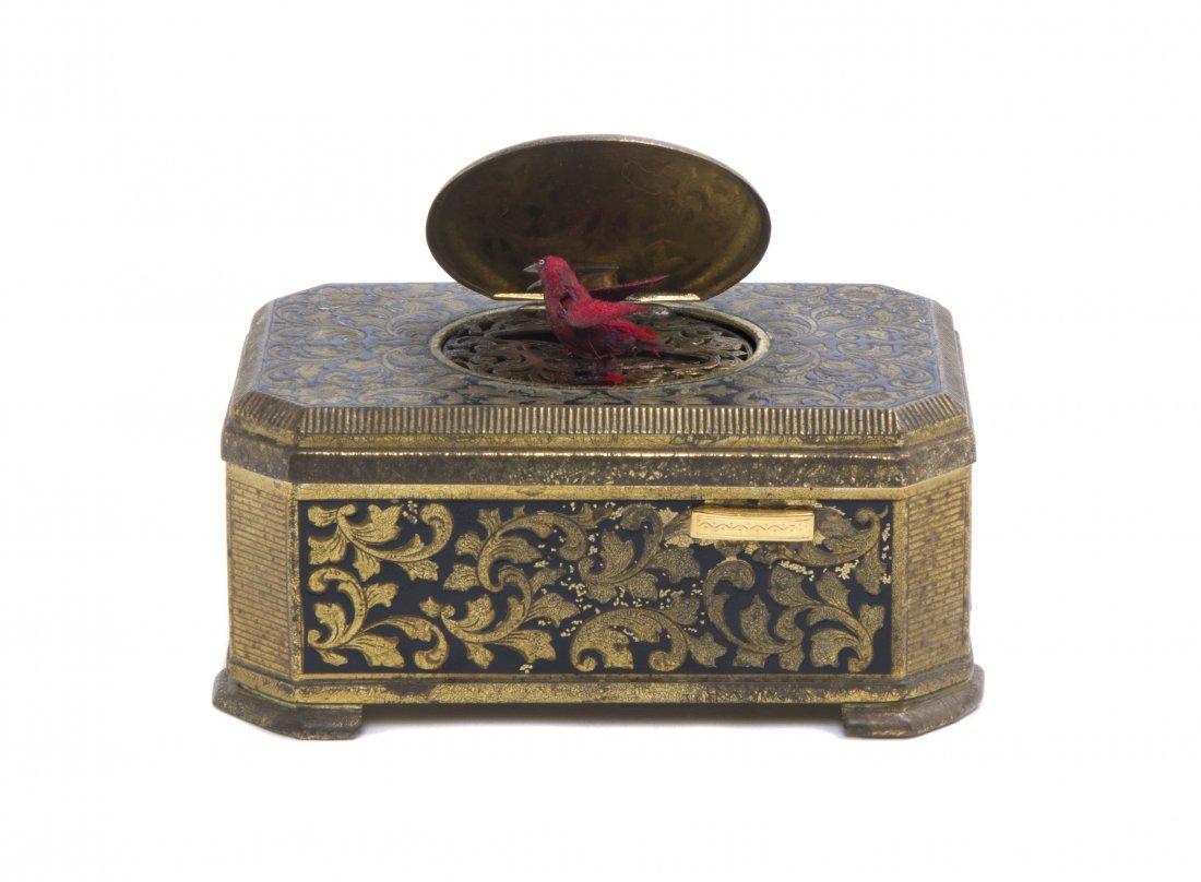 346: A German Gilt Metal Singing Bird Automaton Box, Em