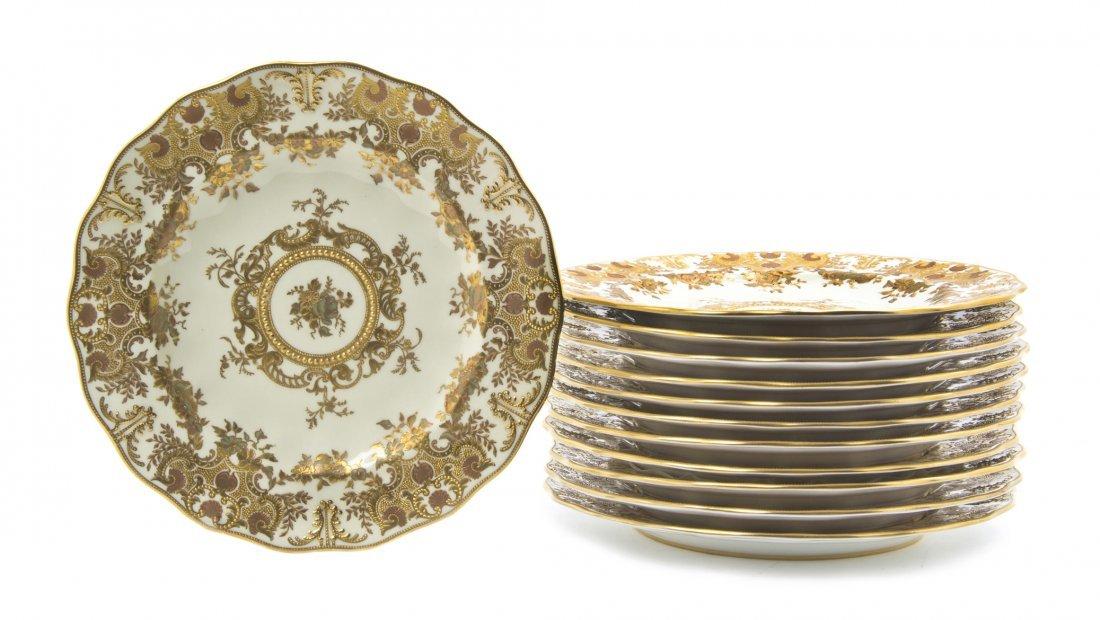 627: Twelve Royal Crown Derby Porcelain Dinner Plates,