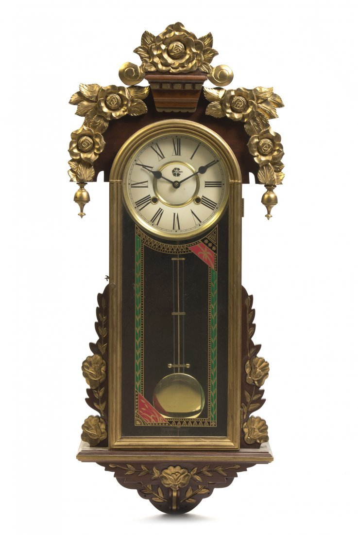 655: A Mahogany and Parcel Gilt Regulator Clock, Height