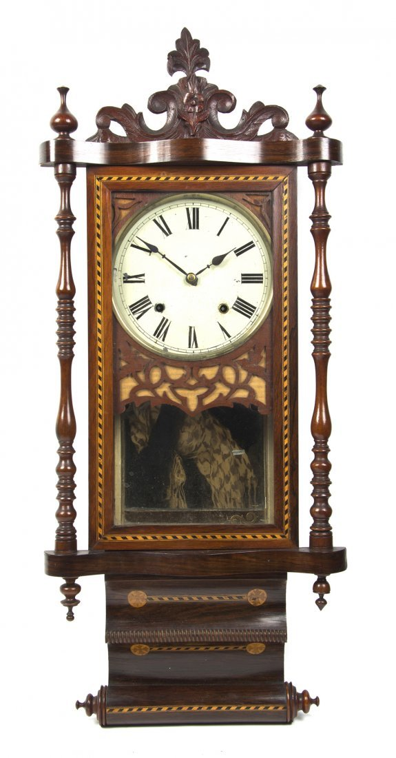 656: An Anglo-American Various Woods Scroll Clock, Heig