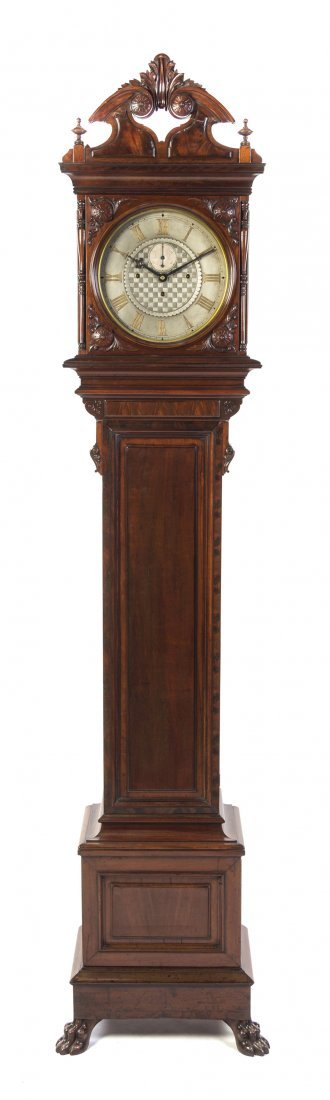 658: An American Mahogany No. 21 Regulator Tall Case Cl