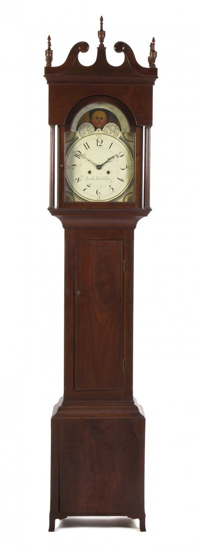 659: An American Walnut Tall Case Clock, Jacob Hostette