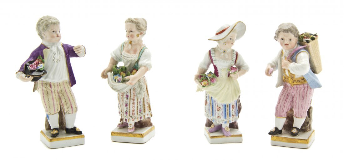 928: Four Meissen Porcelain Figures, Height of tallest