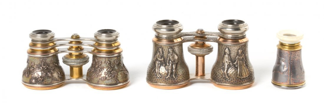 1141: Two Pairs of French Silver and Silvered Opera Gla