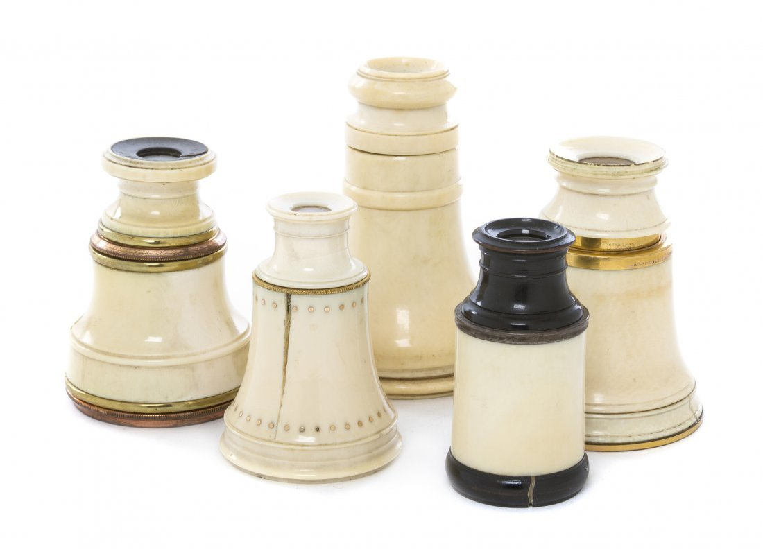 1142: A Collection of Five Ivory Veneered Monoculars, H