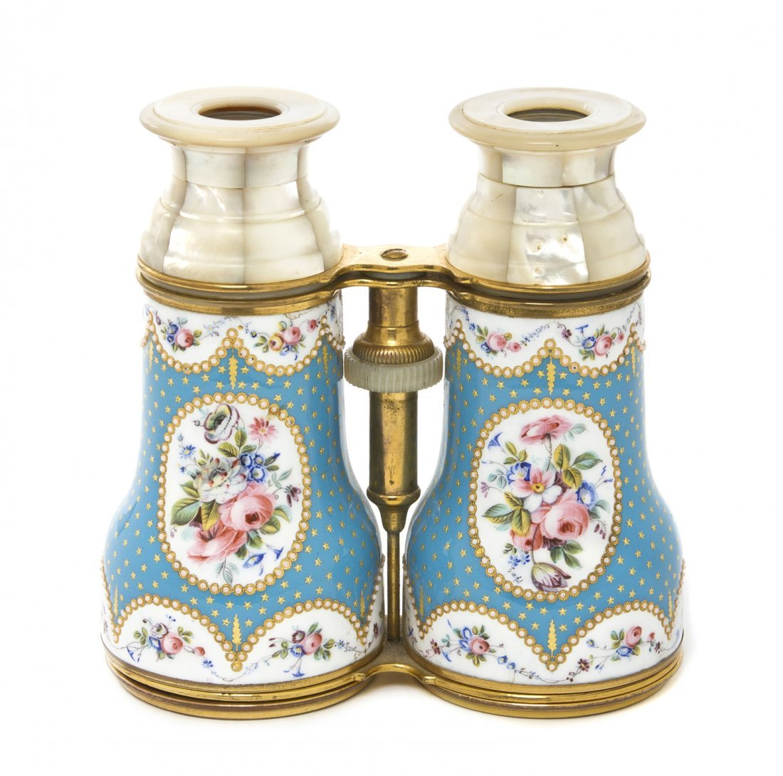 1149: A Pair of French Enameled and Mother-of-Pearl Ven