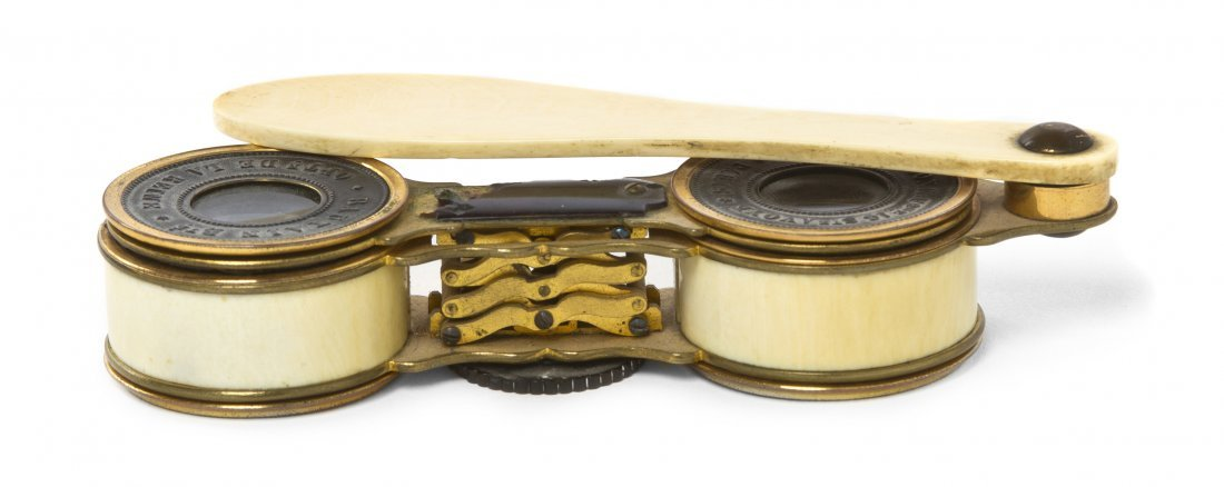 1150: A Pair of French Ivory Mounted Accordion Style Op