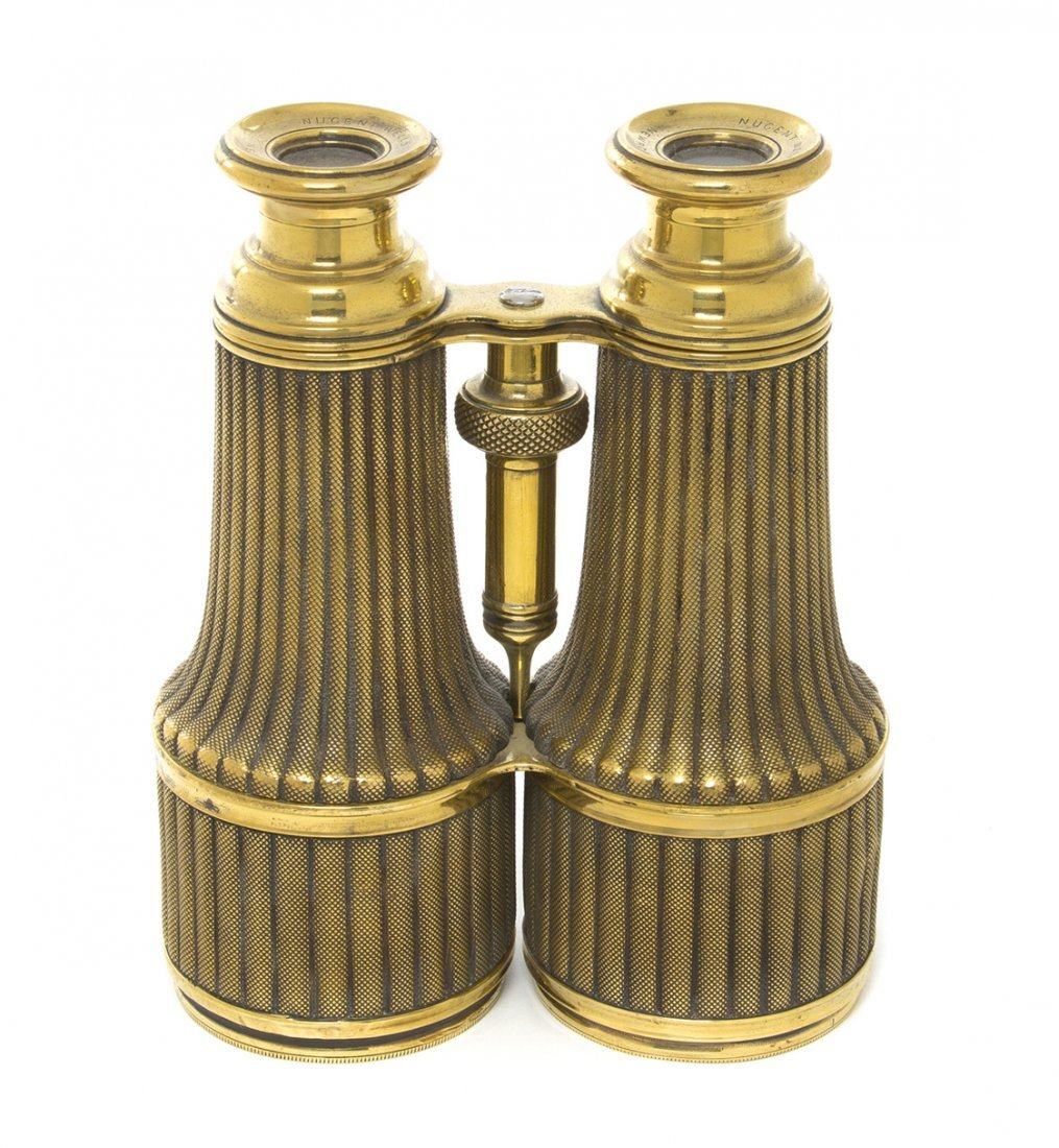 1152: A Pair of Brass Cased Binoculars, Nugent Wells, W