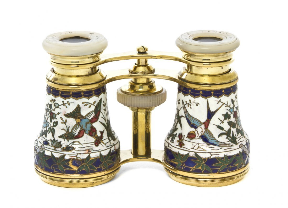 1153: A Pair of French Enameled Opera Glasses, Lemaire,