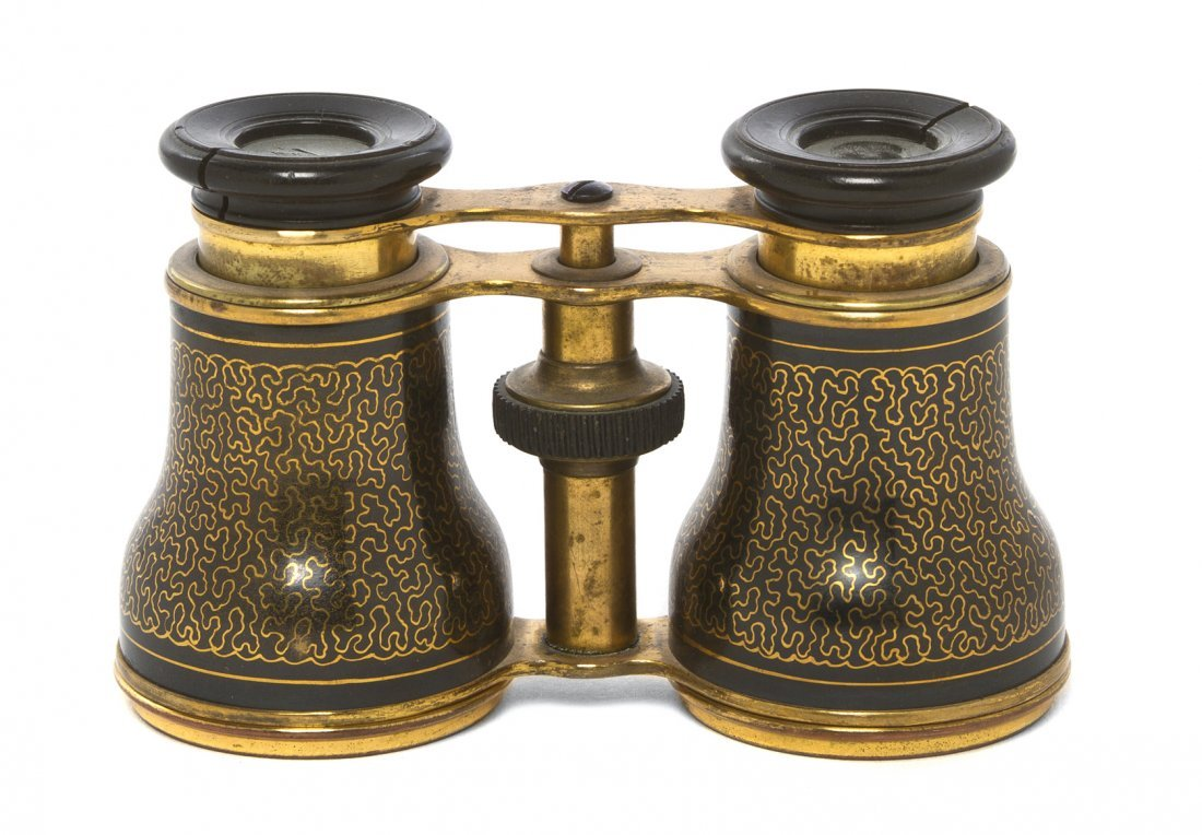 1155: A Pair of French Enameled Opera Glasses, Width 4