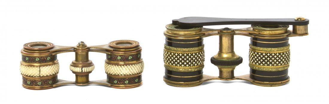 1156: Two Pairs of French Enameled Opera Glasses, Width