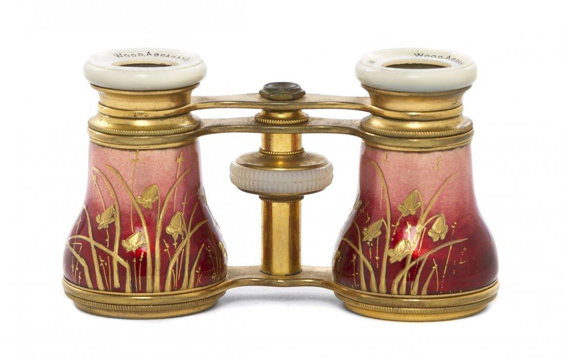 1157: A Pair of English Enameled Opera Glasses, Wood Ab