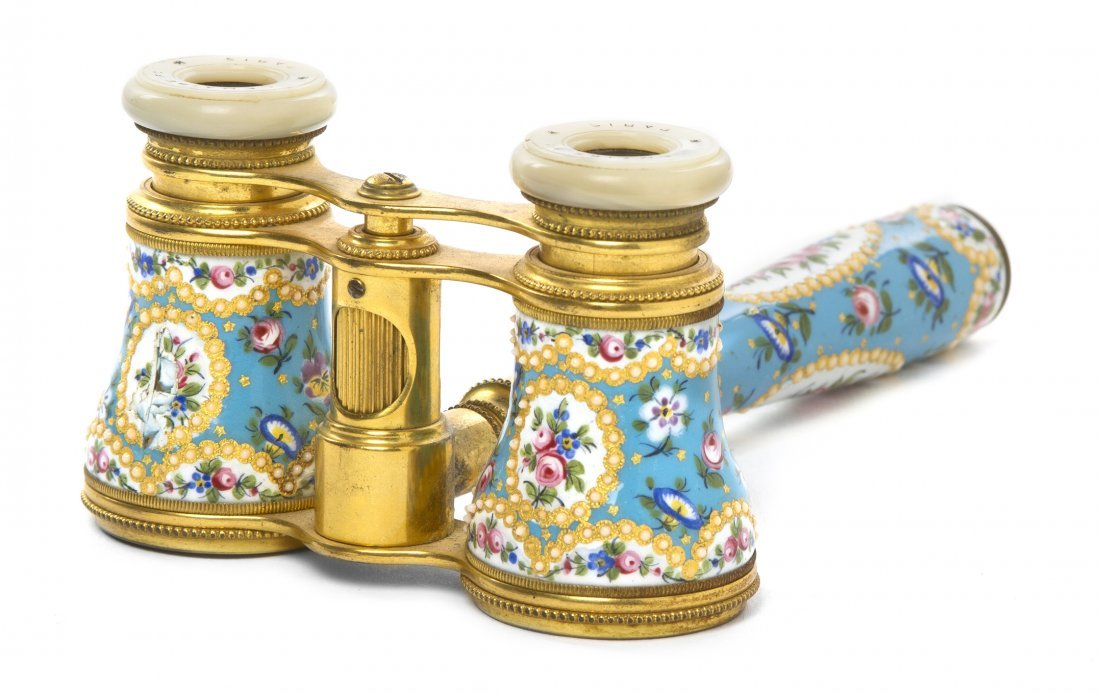 1265: A Pair of French Enameled Opera Glasses, Lemaire,