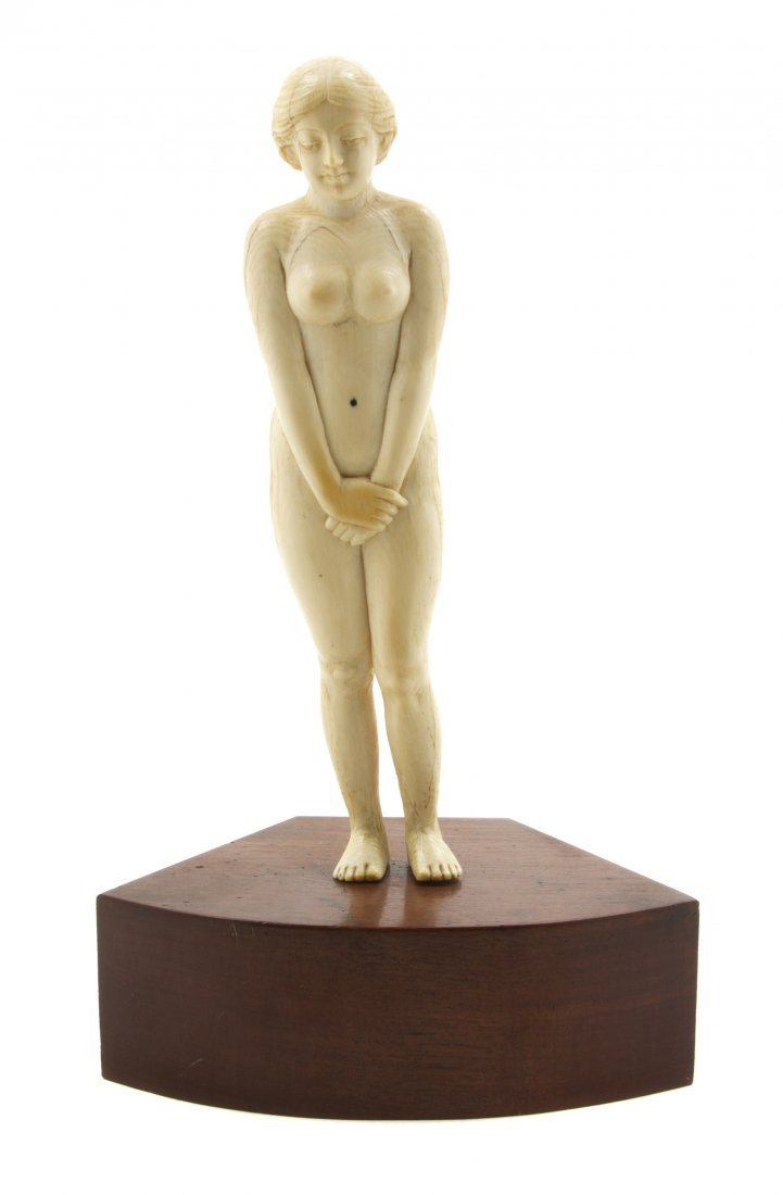 1387: A Continental Ivory Figure, Height of figure 7 3/