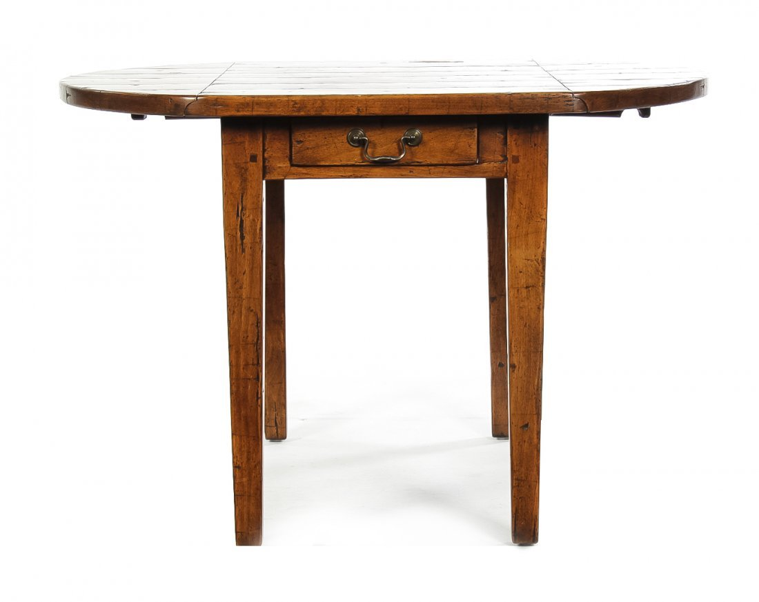 A Rustic Hardwood Drop-Leaf Table, Height 25 x width 22