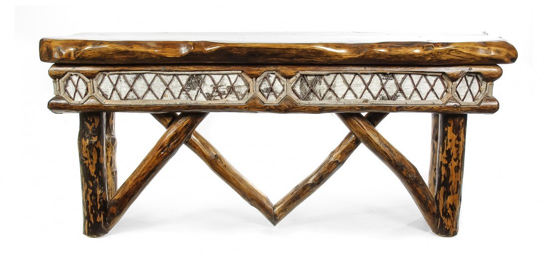 An American Rustic Various Woods Console Table, Height