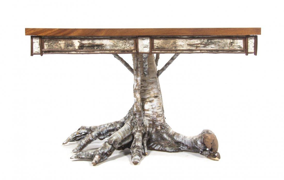 A White Birch Pedestal Table, Height 34 1/2 x width 59