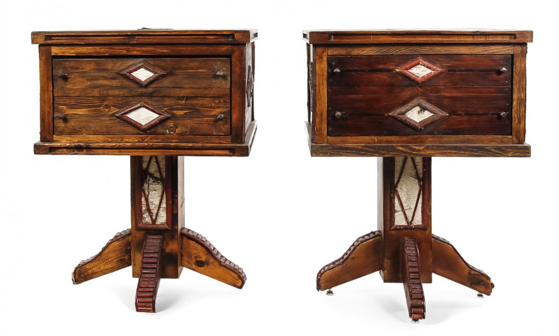 A Pair of American Rustic Style Nightstands, Height 28