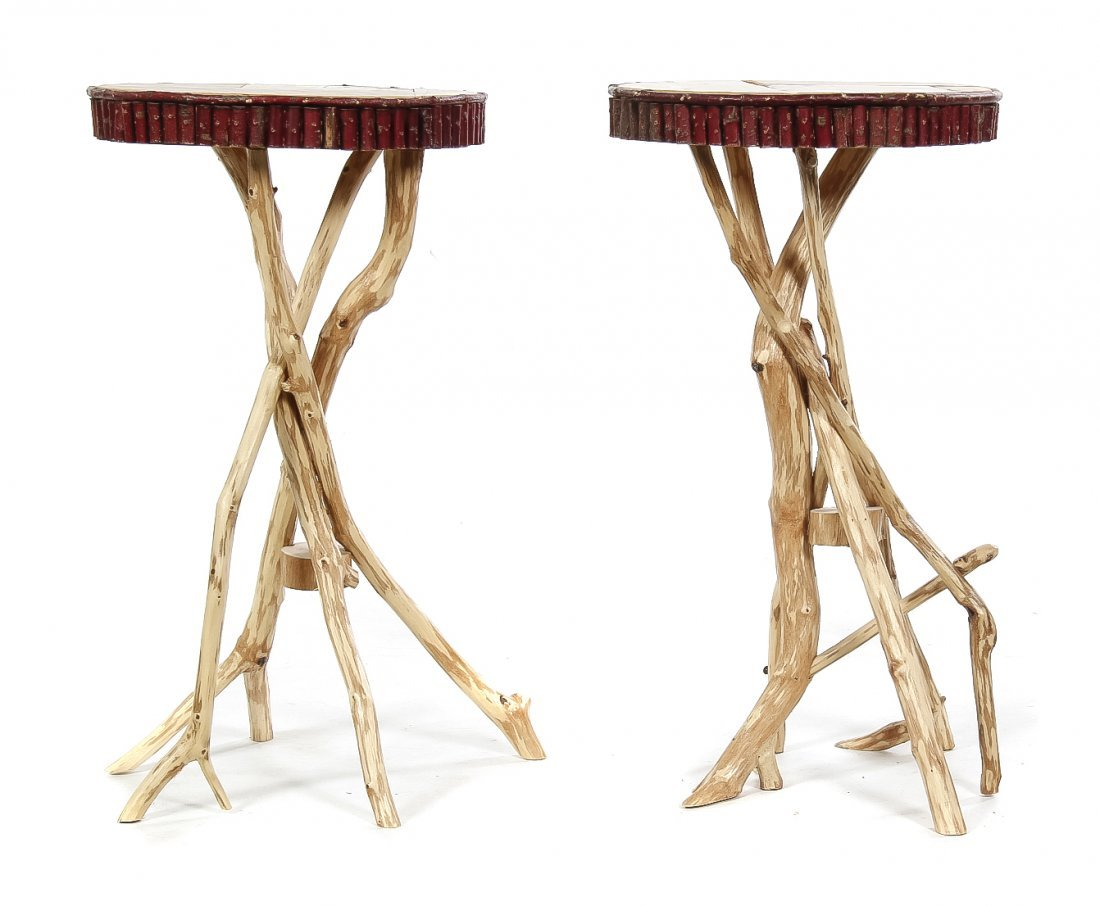 A Pair of Rustic End Tables, Height 24 x diameter 13 1/
