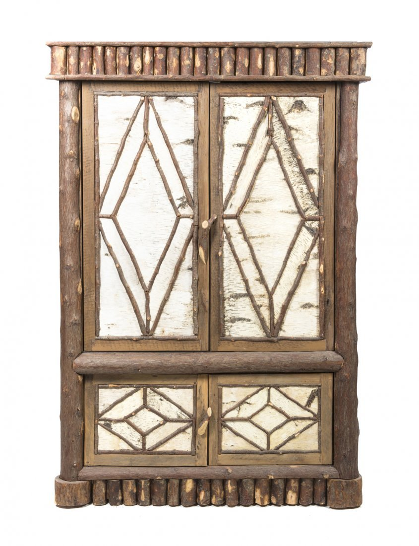 An American Adirondack Style Armoire, Height 82 x width