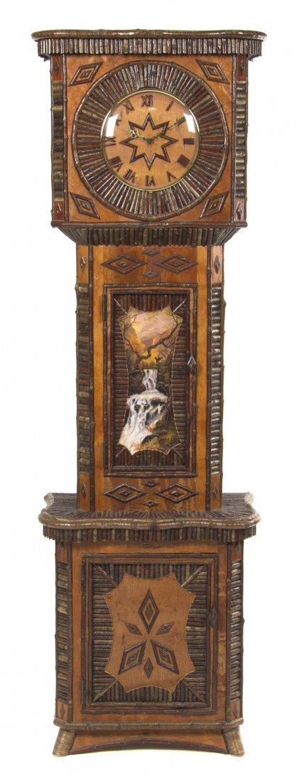 An American Adirondack Style Tall Case Clock, Adirondac