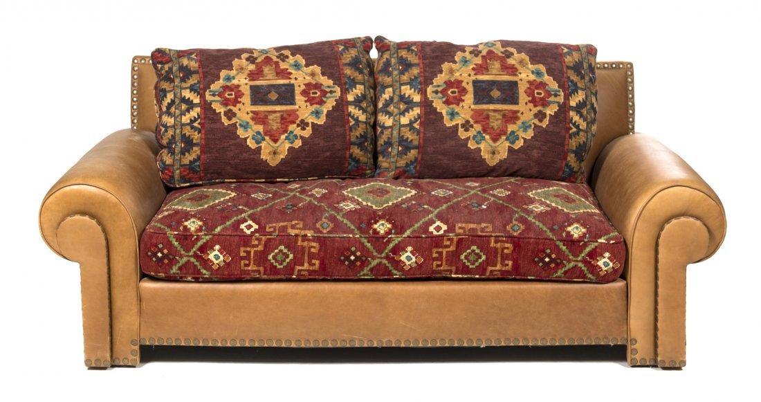 A Pair of Contemporary Sofas, Height 34 x width 80 x de