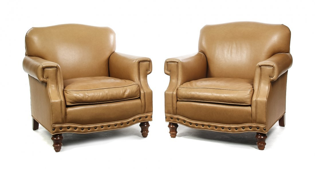 A Pair of Club Chairs, Height 33 1/2 inches.