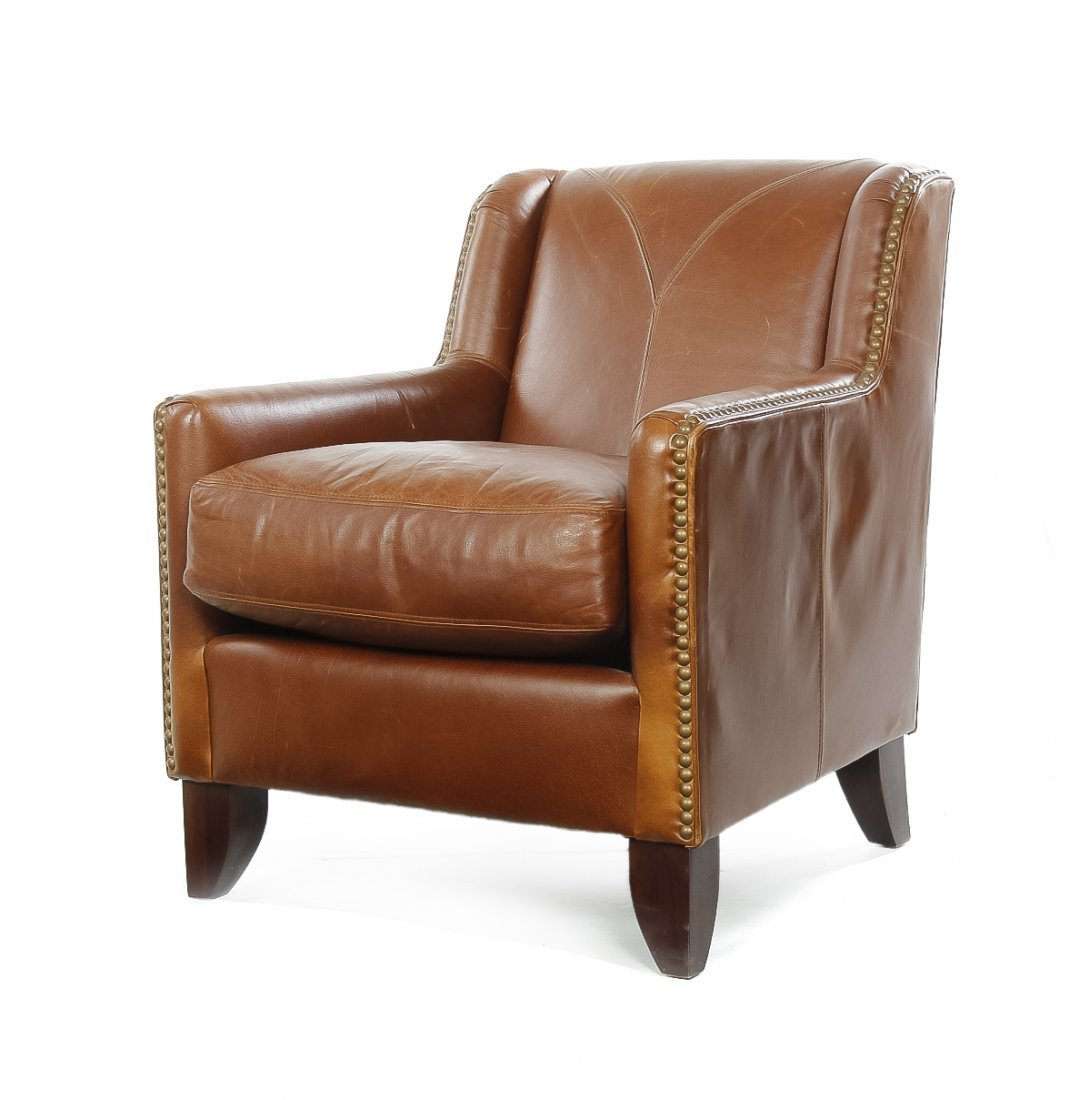 A Leather Upholstered Club Chair, Height 34 inches.