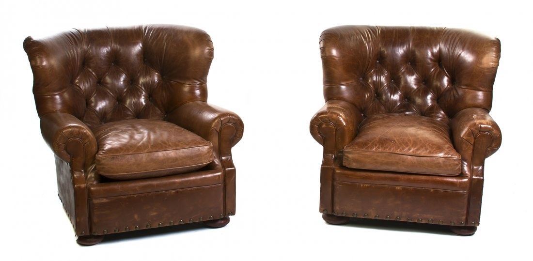 A Pair of Leather Upholstered Club Chairs, Height 36 1/