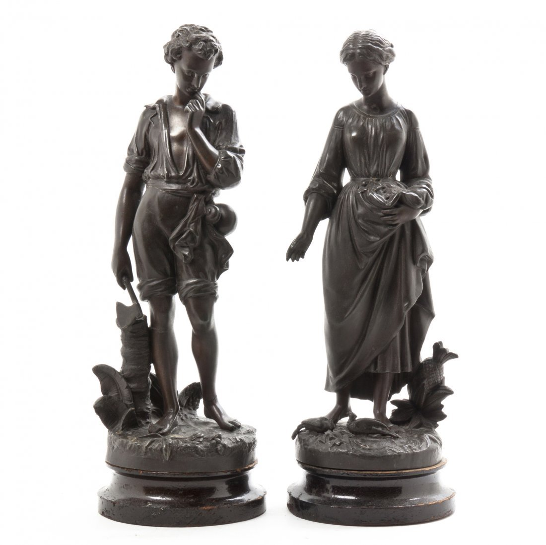 A Pair of Cast Metal Figures, Height of first 16 inches
