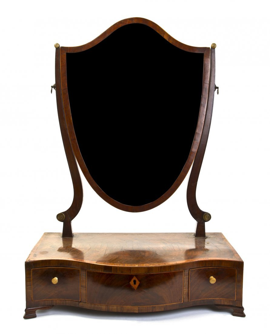 A George III Mahogany Dressing Mirror, Height 21 inches