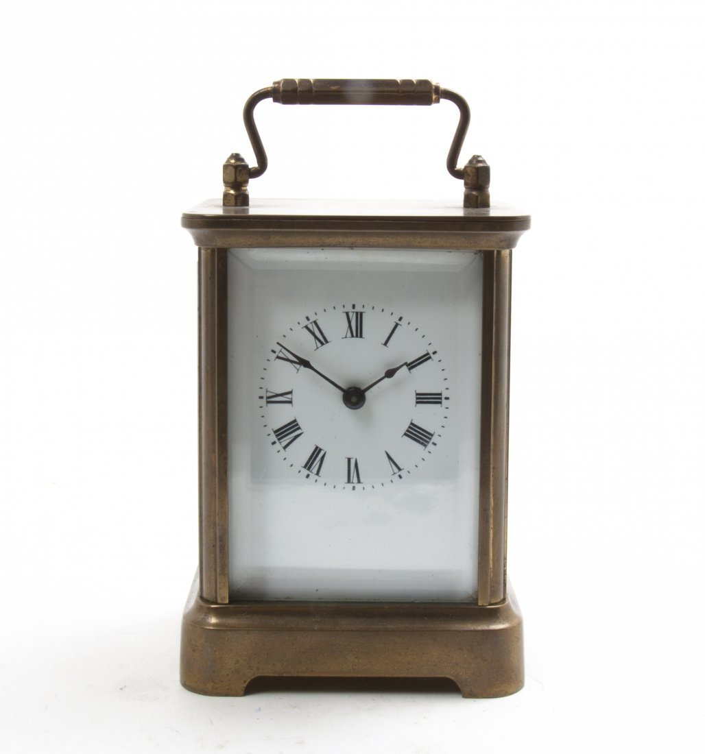An American Brass Carriage Clock, Waterbury, Height ove