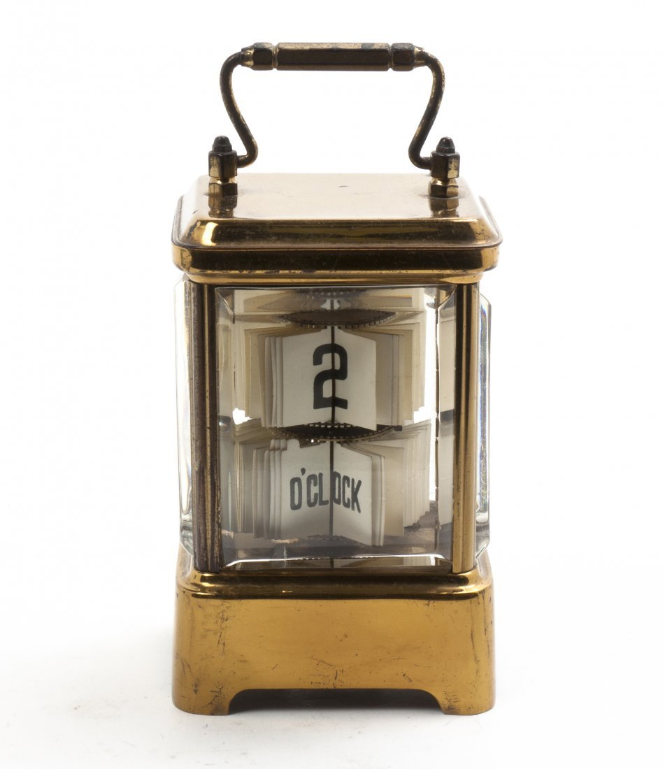 A Glass and Brass Carriage Clock, The Plato Clock, Heig