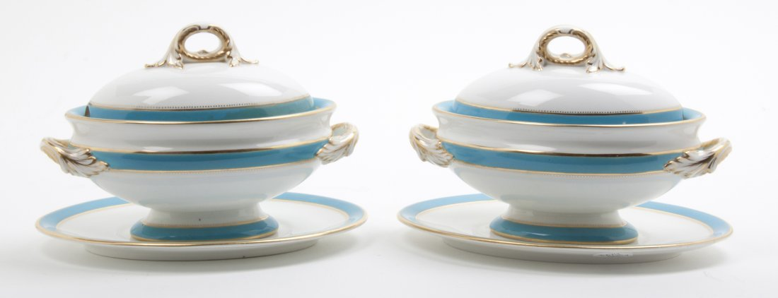 A Pair of Worchester Sauce Tureen and Underplates, Widt