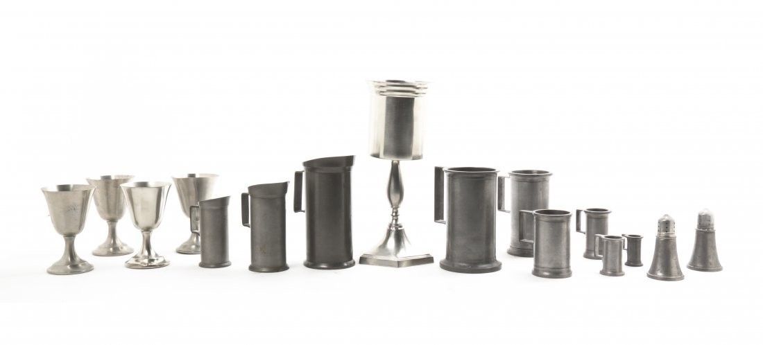 An Assembled Collection of Nine Pewter Measures, Height