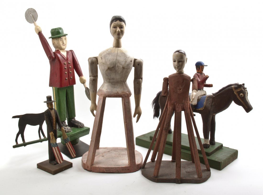 A Group of Painted Wood Articles, Height of tallest 25