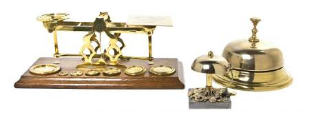An English Brass and Oak Postal Scale, Width of first o